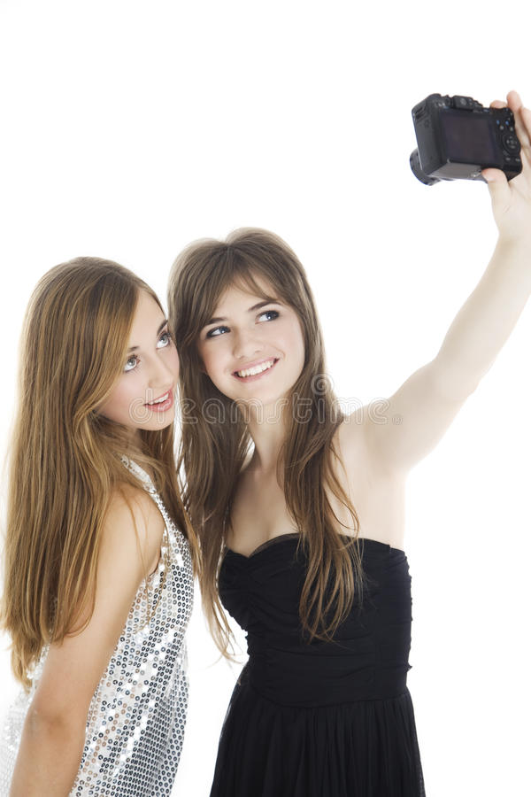 Teen friends taking a self portrait stock images