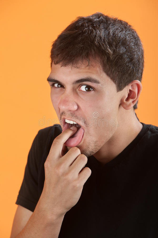 Teen Gestures To Puke stock image