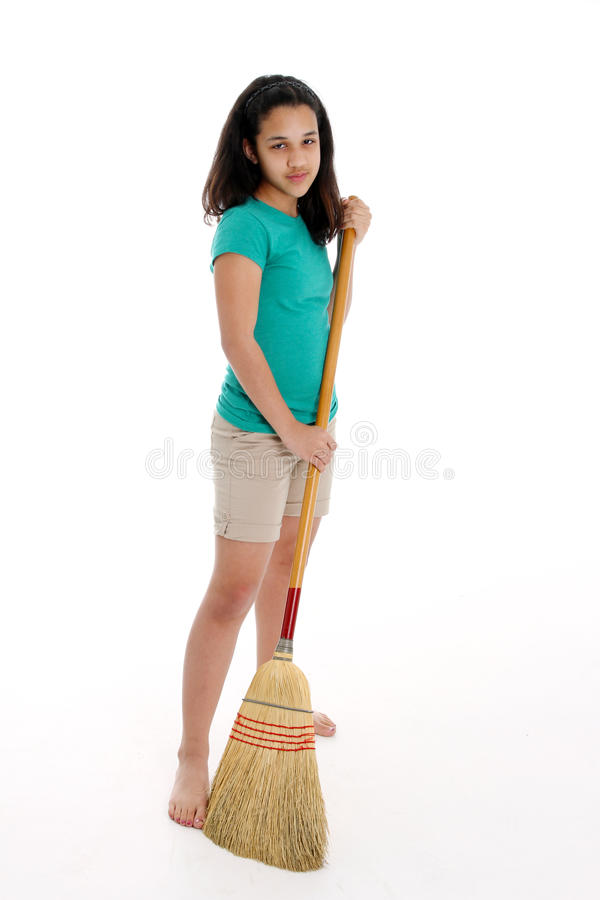 Download Teen Girl stock photo. Image of chore, youth, sweep, learning - 24083312