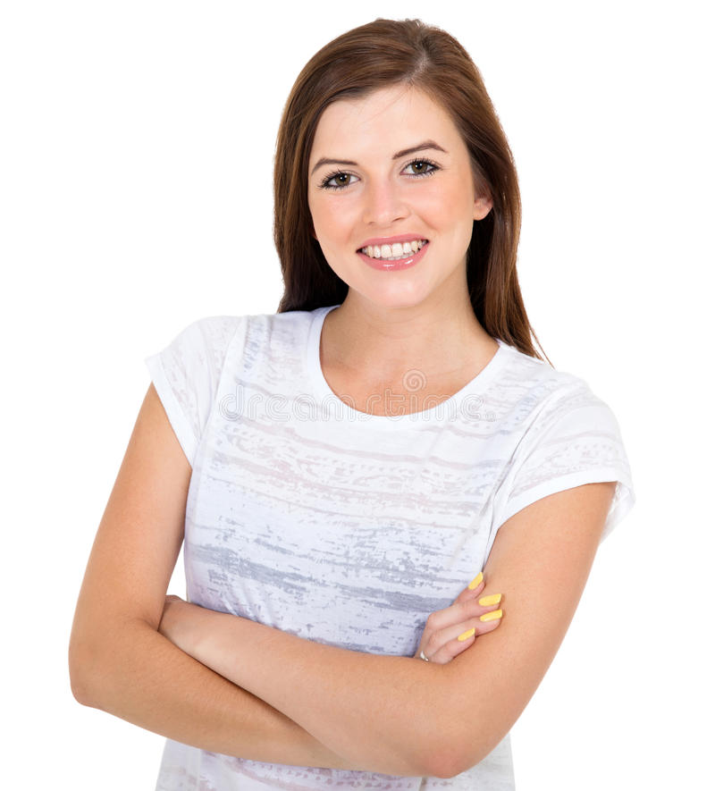 Teen girl arms crossed stock images