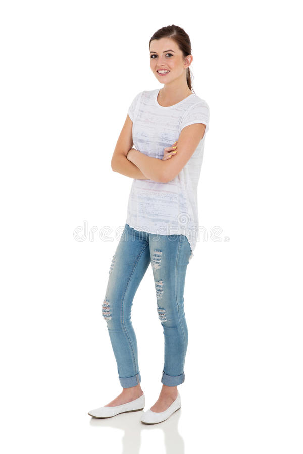 Teen girl arms folded royalty free stock photos