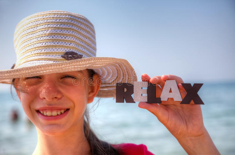 Download Teen girl at a beach stock photo. Image of cheerful, hold - 25685086