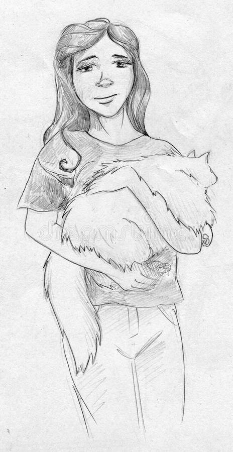 Teen Girl With Big White Fluffy Cat Stock Illustration