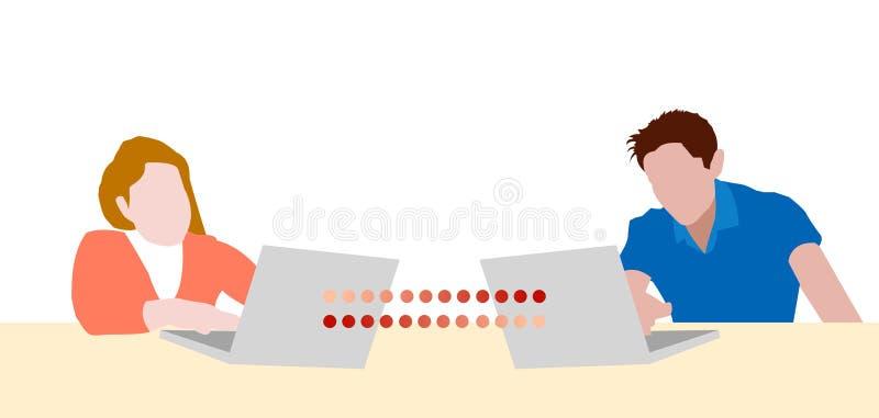 Teen girl and boy chatting laptops vector illustration