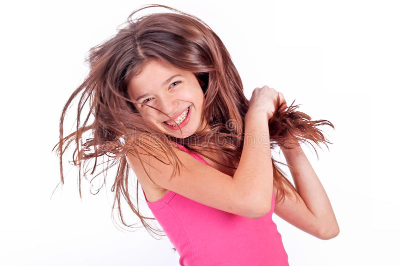 Teen girl with brackets royalty free stock photo