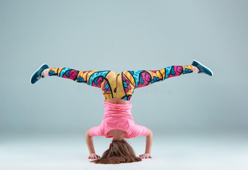 The teen girl dancing hip hop choreography stock image