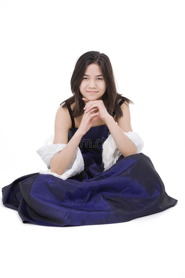 Download Teen Girl In Dark Blue Dress Gown Stock Image - Image: 26835233