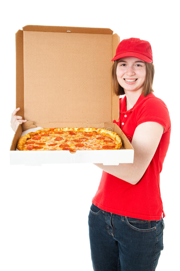 Download Teen Girl Delivering Pizza stock image. Image of pepperoni - 24903595
