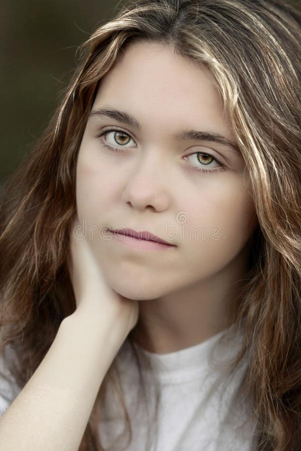 Teen girl depressed stock photo