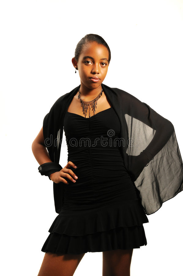 Teen girl in evening dress royalty free stock images