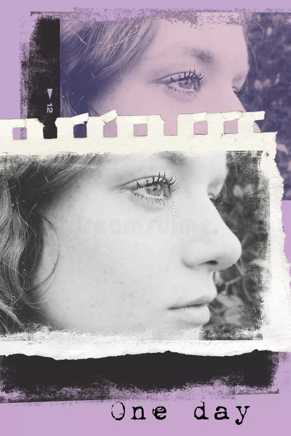 Teen Girl Face Profile Portrait Template stock image
