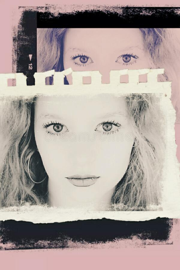 Teen Girl Face Profile Portrait Template royalty free stock photos