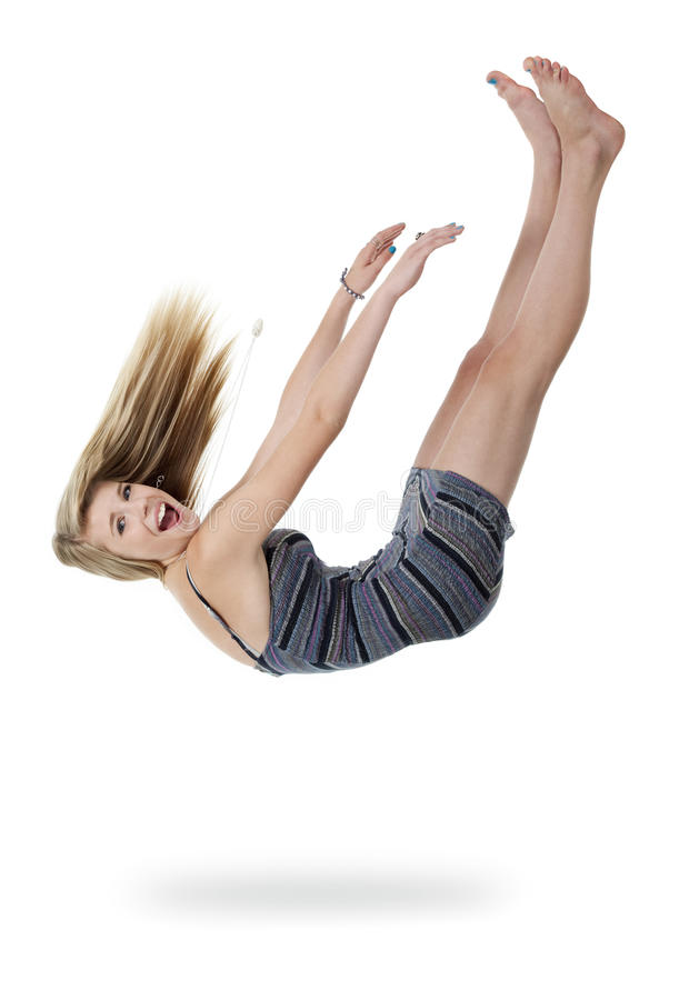 Download Teen Girl Falling Out Of White Space Stock Image - Image: 21792827