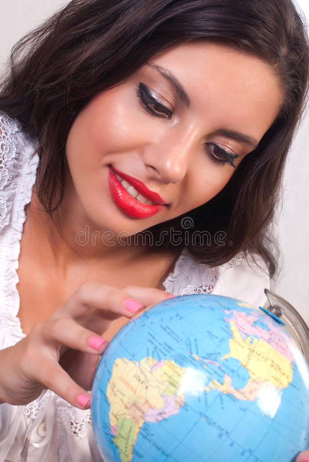 Download Teen girl with globe stock image. Image of business, portrait - 20657767