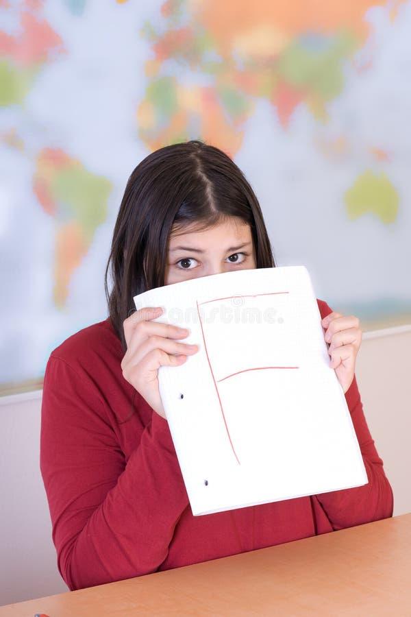 Teen Girl Got Bad Grade Stock Photos