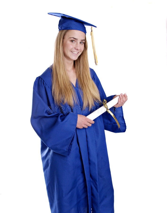 Teen Girl In Graduation Cap And Gown Stock Photo - Image of ...