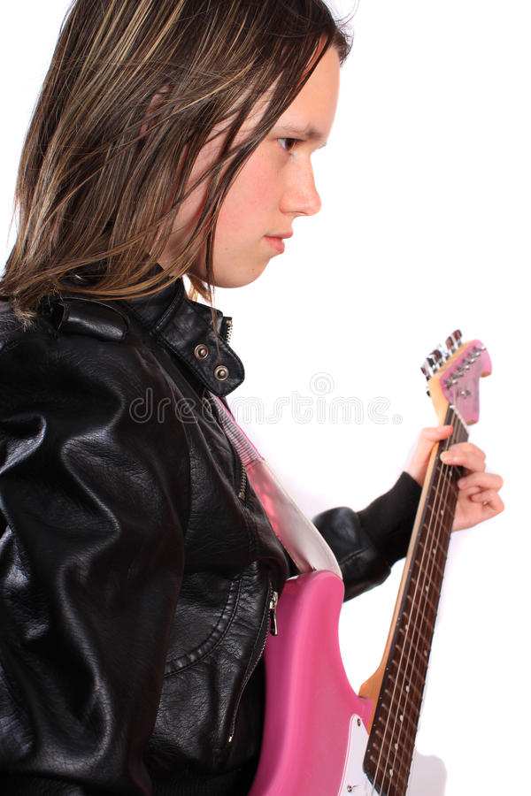 Download Teen girl with guitar stock image. Image of performer - 16361745
