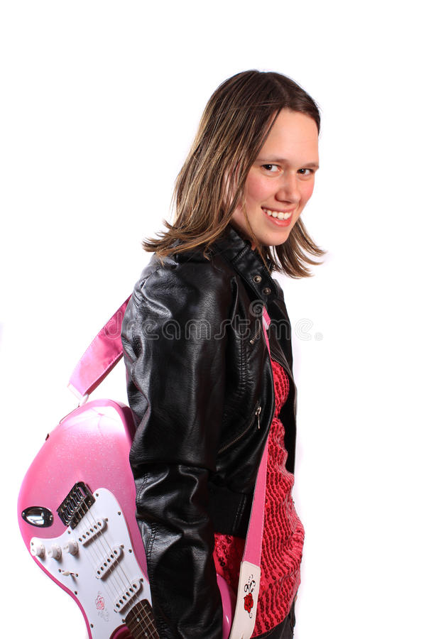 Download Teen girl with guitar stock image. Image of musical, teenager - 16374863
