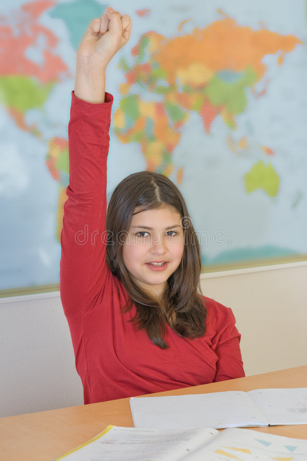 Teen girl happy about test score stock photo