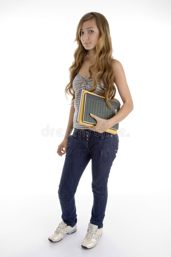 Teen Girl Having Books Royalty Free Stock Photography