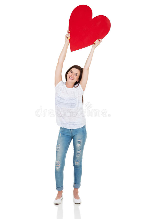 Teen girl heart shape royalty free stock images