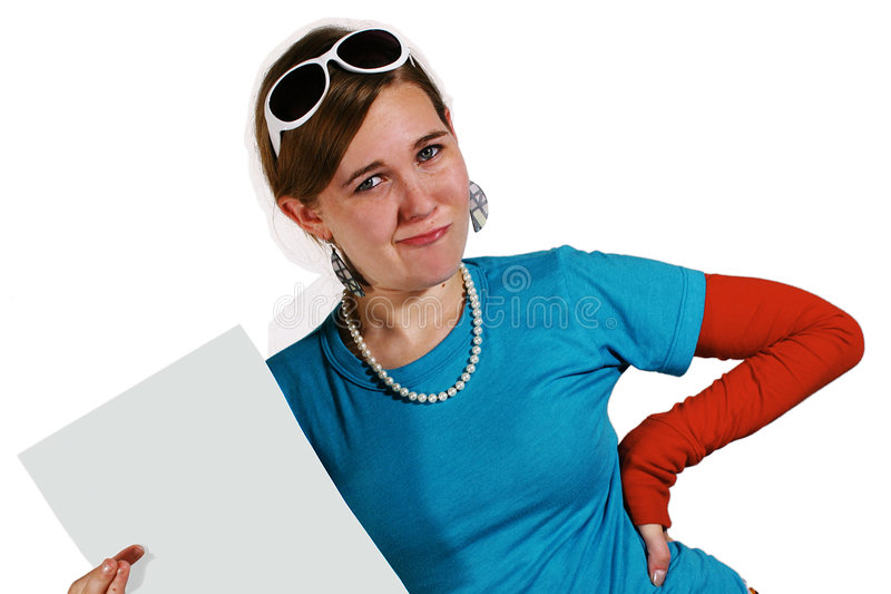 Teen girl holding blank paper royalty free stock image