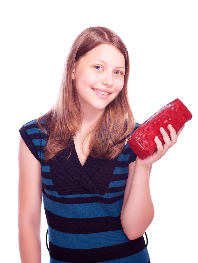 Teen girl holding cosmetician royalty free stock image