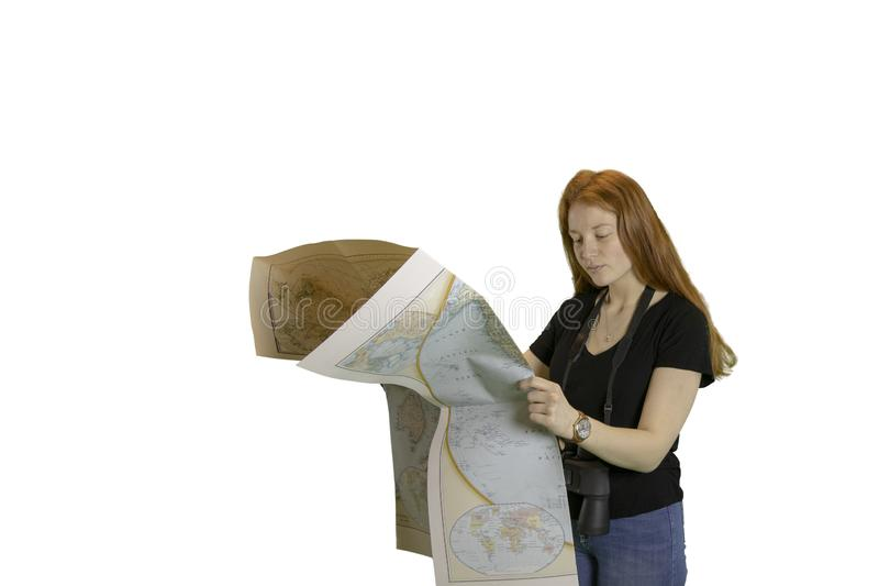 Teen girl with world map royalty free stock image