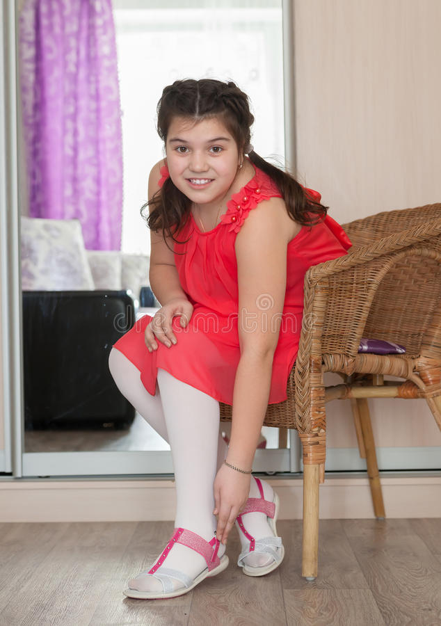 Teen girl at home stock image