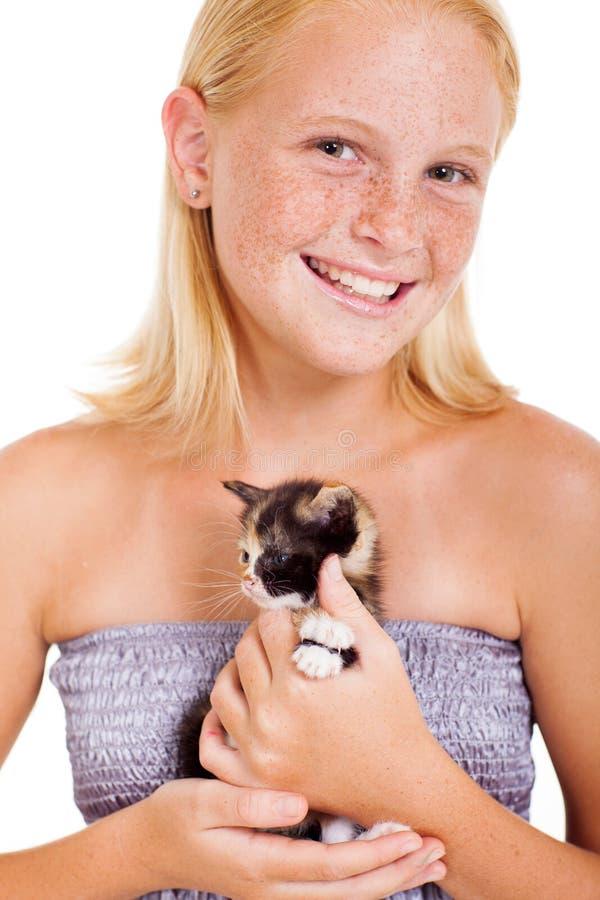 Teen girl kitten royalty free stock image