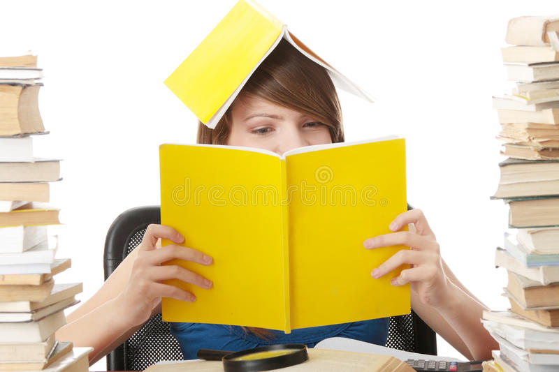 Download Teen girl learning stock image. Image of background, girl - 12085379