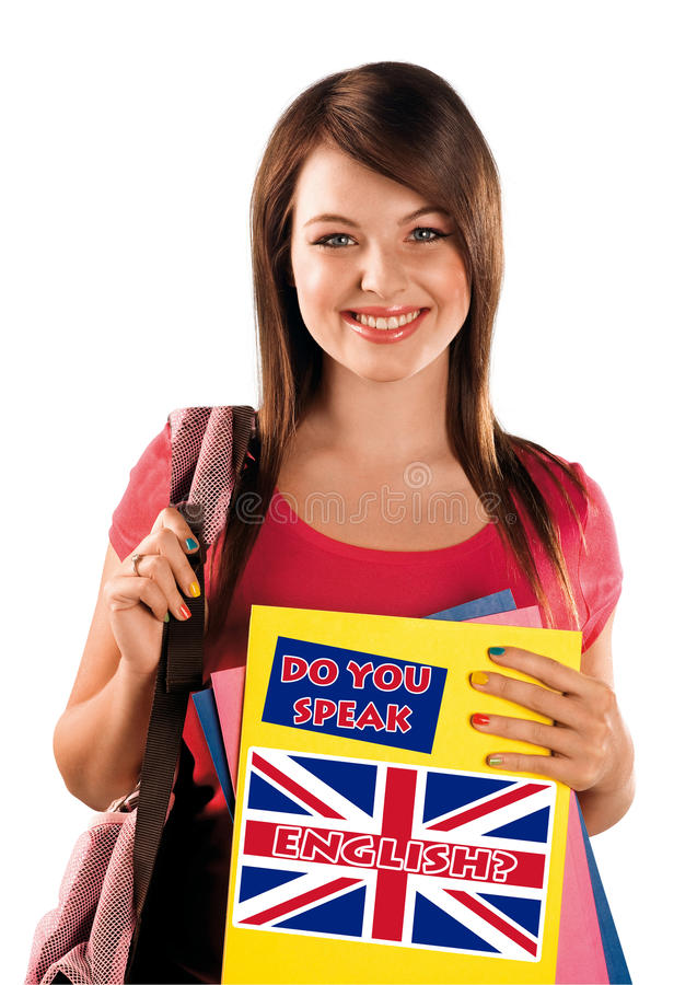 Teen girl learning english language stock photography