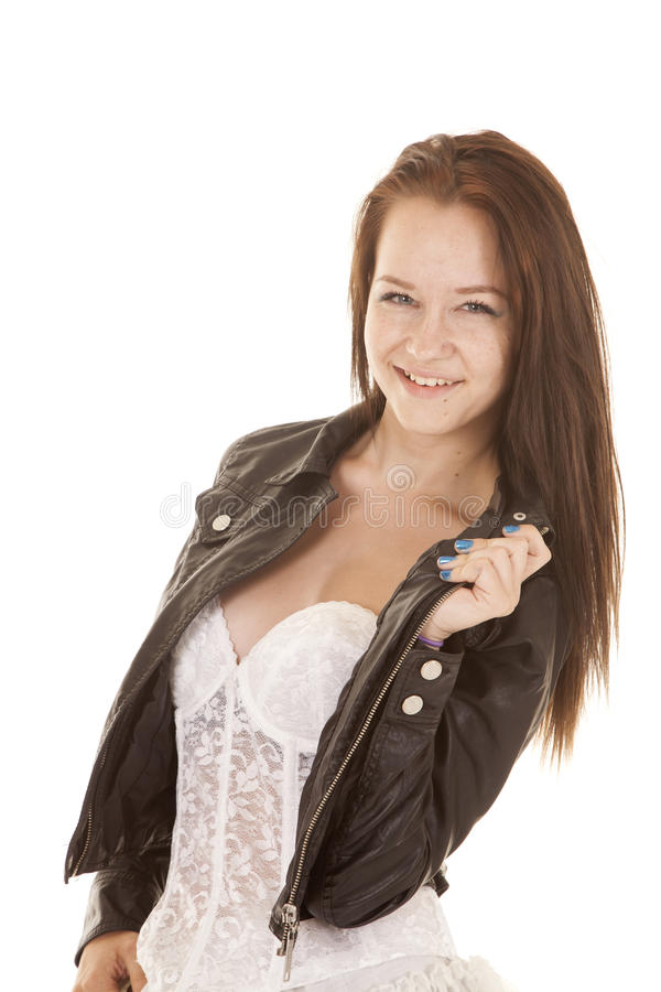 Teen girl leather jacket white dress royalty free stock image