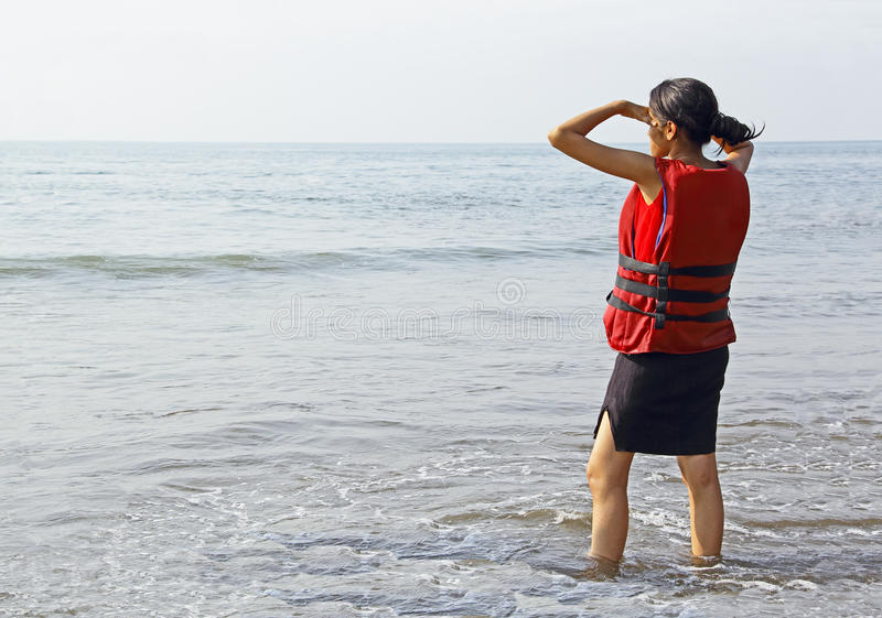 Teen Girl in Life Jacket royalty free stock images