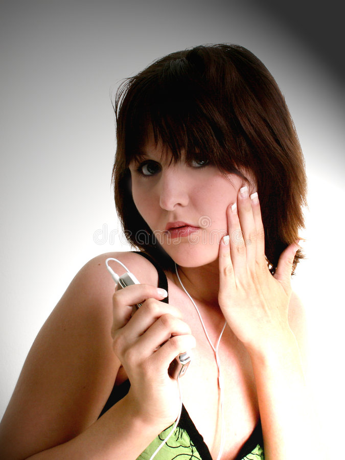 Teen Girl Listening To Music stock photo
