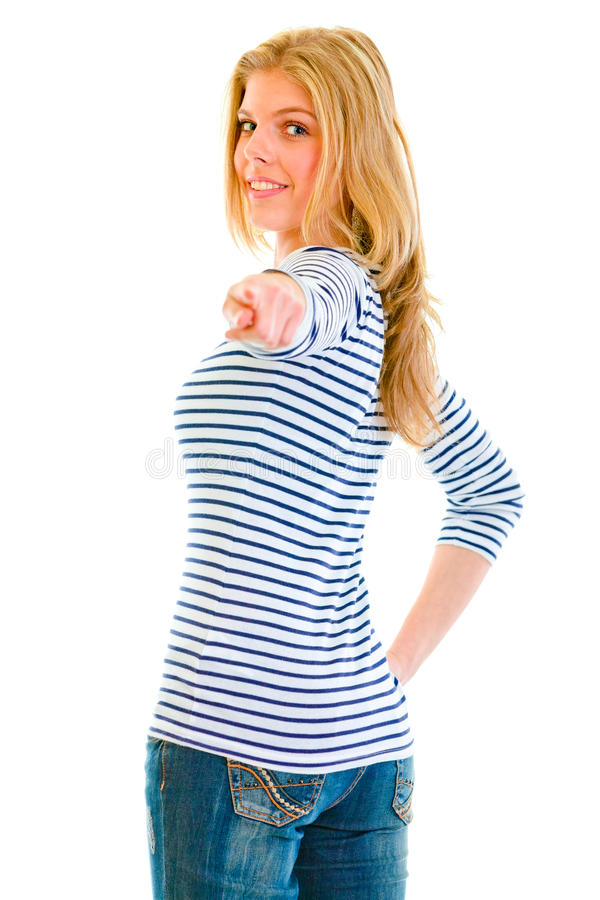 Download Teen Girl Looking Back And Pointing Finger At You Stock Image - Image of isolated, finger: 20009065