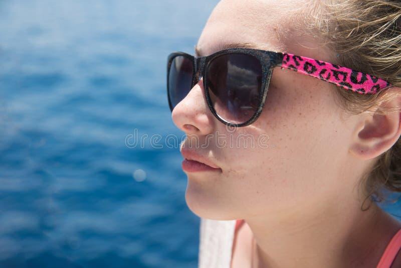 Beautiful nude girl boat