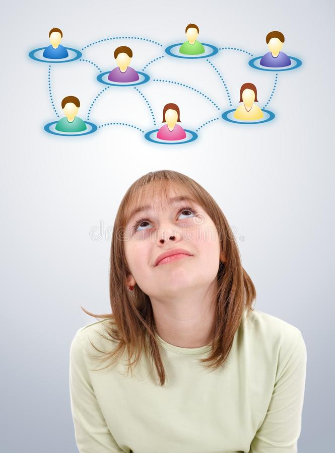 Teen girl looking up to social network stock illustration