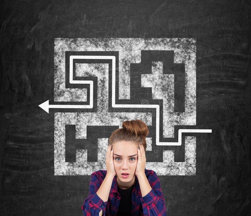 Teen girl and a maze on a blackboard stock photos