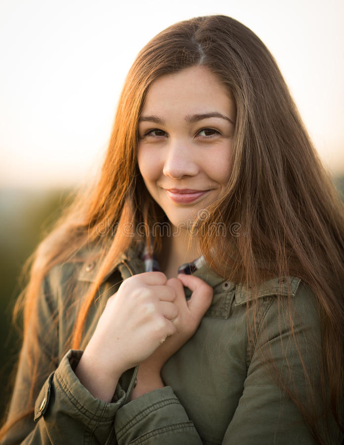 Teen girl Outside in Winter With Thick Coat stock photos