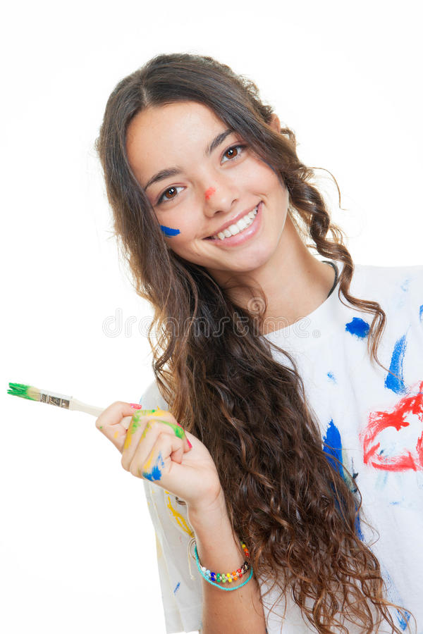 Download Teen girl painting stock photo. Image of happiness, smile - 37829012