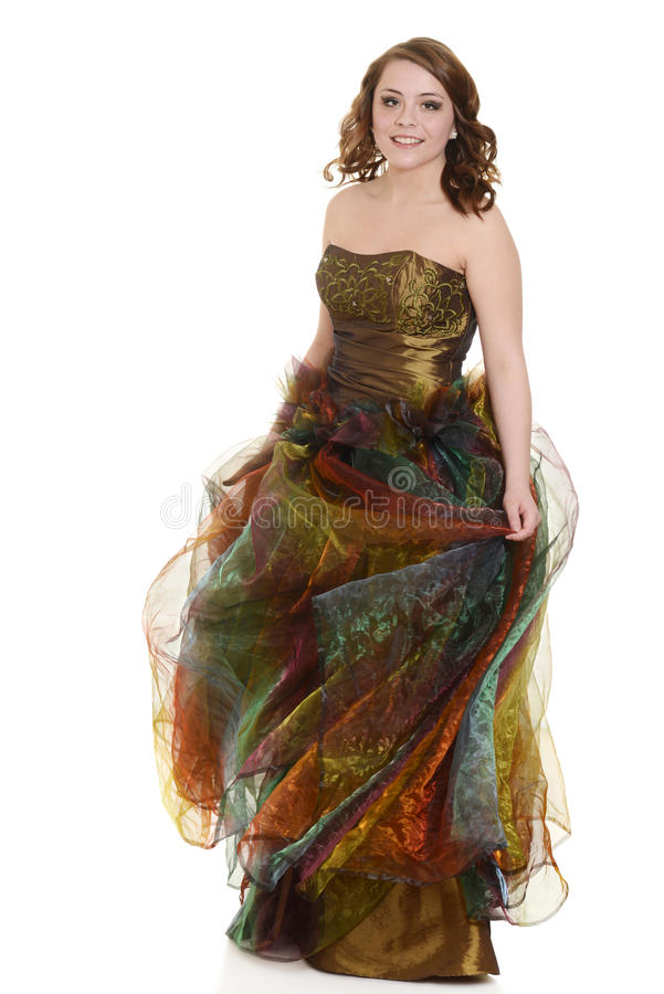 Teen girl in party dress. On white background royalty free stock images