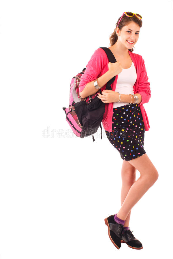 Teen girl with pink sweater and backpack
