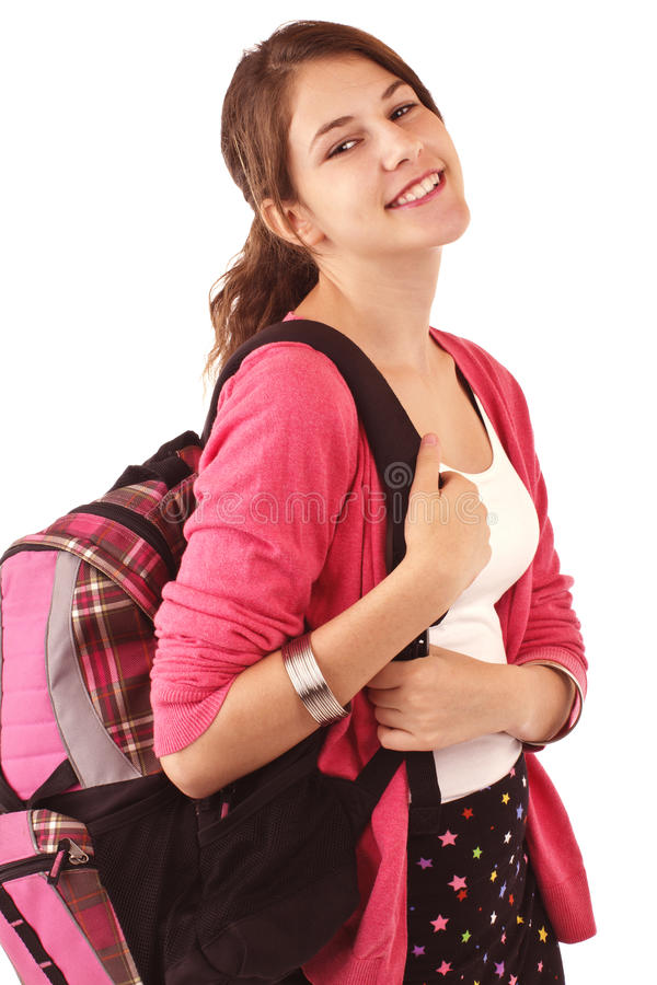 Download Teen Girl With Pink Sweater And Backpack Stock Image - Image of skirt, pink: 26246803