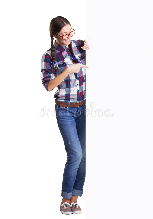 Download Teen girl with placard stock photo. Image of casual, business - 37971152