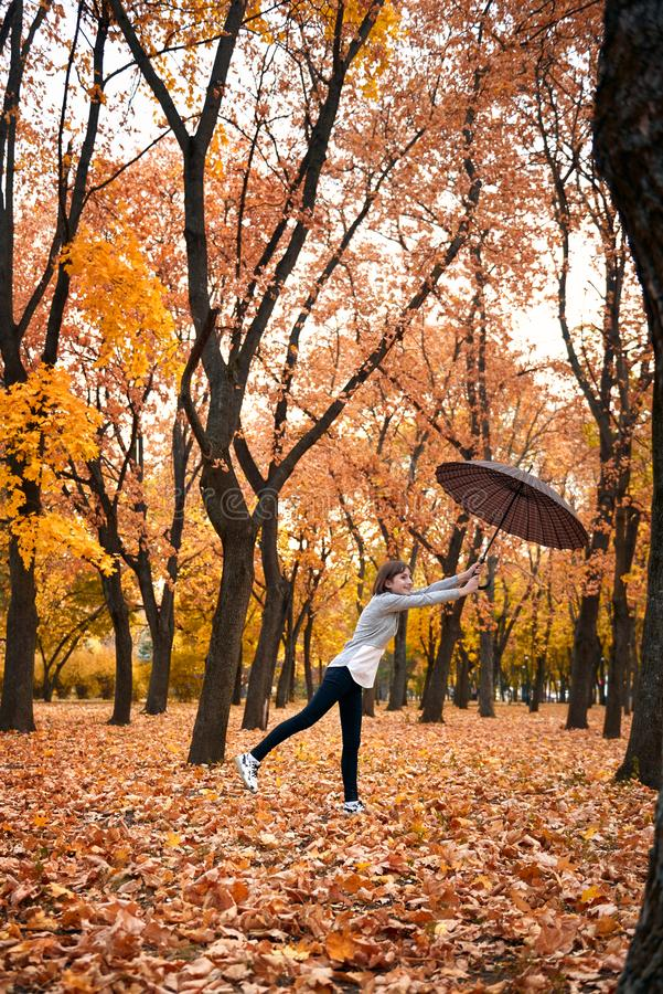 Teen girl is posing with umbrella in autumn park. Beautiful landscape at fall season stock photography
