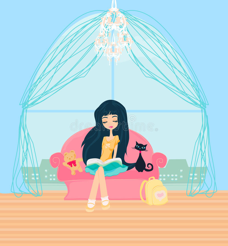 Download Teen girl Reading A Book stock vector. Image of educational - 31067747