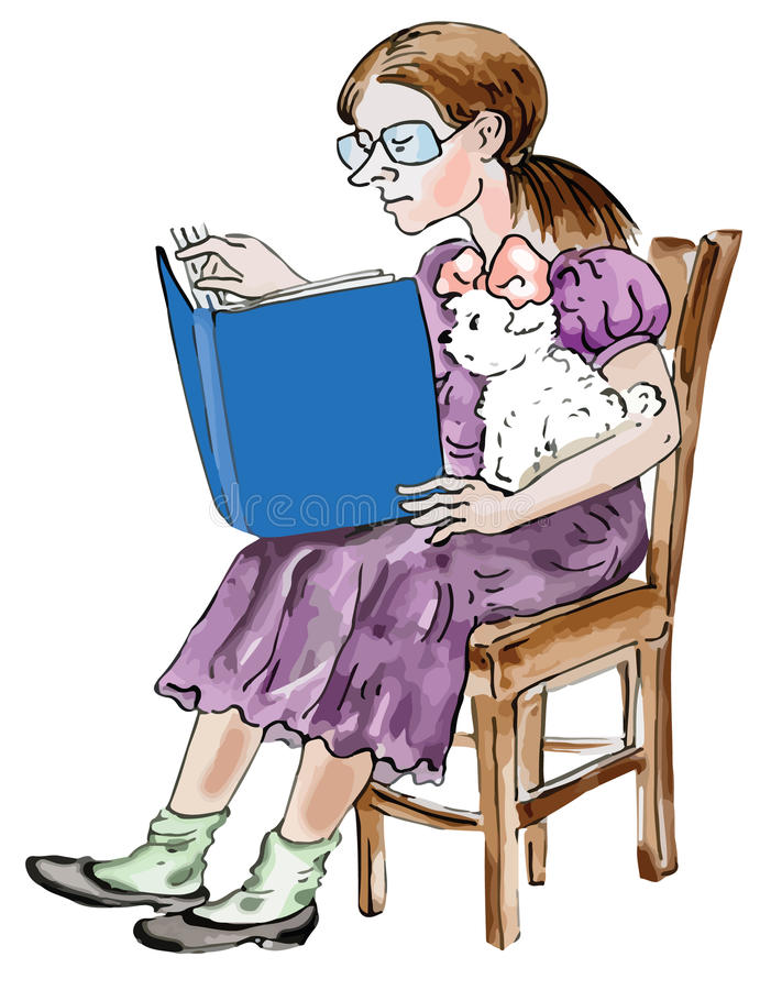 Teen Girl Reading With Her Little Maltese Dog Royalty Free Stock Image