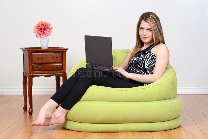 Download Teen Girl Relaxing With Laptop Stock Photo   Image Of Floor,  Happy: 30453048