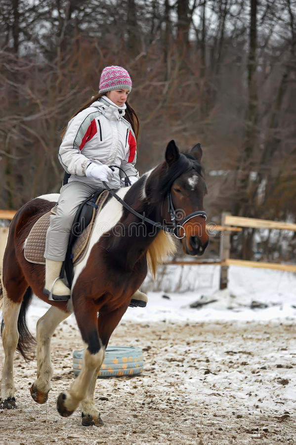 Teen girl riding a horse. In winter royalty free stock photography